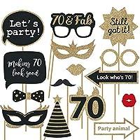 完全に組み立てられた70歳の誕生日写真ブース小道具 – 30個セット – ブラック&ゴールドのセルフィーサイン – 70歳のパーティー用品 & デコレーション – 本物のキラキラのキュートな70歳の誕生日デザイン – DIYは言いませんでしたか?