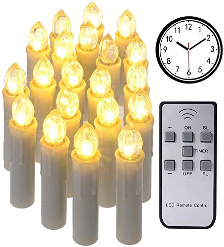 DFZ 20Pcs Large Size Emulational Dimmable LED Flameless Taper Timer Candles with Remote and Removable Clips, Last Up to 200 Hours, Ideal for Christmas Indoor Outdoor Decorations