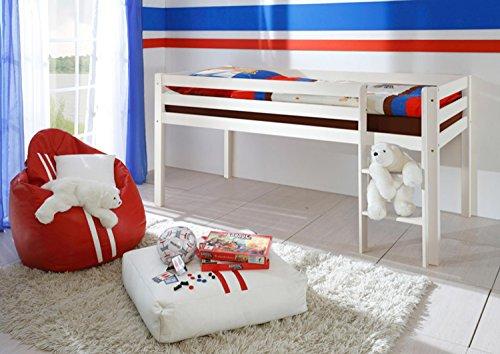 AVANTI TRENDSTORE - Konrad - Struttura di letto a soppalco con scaletta stabile in legno di pino massiccio, disponibile in 2 diversi colori. Dimensioni: LAP 97x113x207 cm