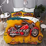MANISENG Bedding Juego de Funda de Edredón,Roma, Italia Una Imagen volumétrica con una Motocicleta y los Nombres de Las rutas,Microfibra SIN Relleno,(Cama 240x260 + Almohada)
