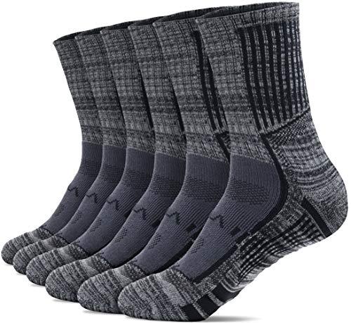 TSLA Men's Athletic Mid-Calf Socks Cushioned Sports Comfort, Active Grip 6pairs(mzs63) - Charcoal, M x Men 5-8_Women 6-9