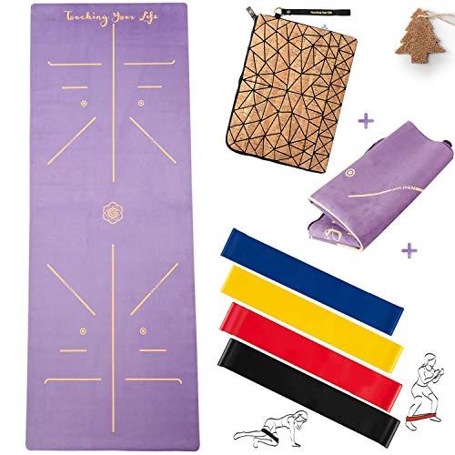 GOLDEN® Yogamatte Reise 1,5mm Naturkautschuk rutschfest schadstofffrei Faltbare dünne Leicht mit Tragetasche Tragegurt Fitnessbänder