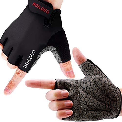boildeg Guantes de Ciclismo de Bicicleta Guantes de Bicicleta de Carretera de Medio-Dedo para Hombres Mujeres Acolchado Antideslizante Transpirable (Negro, L)