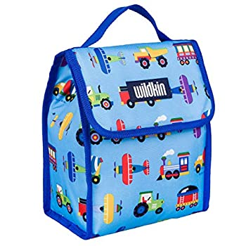 Wildkin Kids Insulated Lunch Bag for Boys and Girls,Lunch Bags Ideal Size for Packing Hot or Cold Snacks for School and Travel Mom s Choice Award Winner,BPA-Free,Olive Kids Trains Planes and Trucks