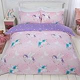 Dreamscene Sparkle - Set copripiumino singolo, colore: Rosa fard viola mistico unicorno
