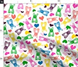 Spoonflower Fabric - Puppies French Bulldogs Frenchies Bears Rainbow Abstract Dog Pet Printed on Fleece Fabric by The Yard - Sewing Blankets Loungewear and No-Sew Projects