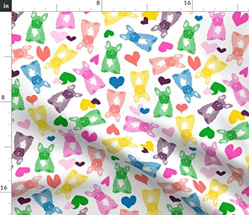 Spoonflower Fabric - Puppies French Bulldogs Frenchies Bears Rainbow Abstract Dog Pet Printed on Petal Signature Cotton Fabric by The Yard - Sewing Quilting Apparel Crafts Decor