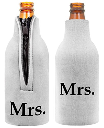 Lesbian Mrs Marriage Bride Gay Wedding LGBT 2 Pack Bottle Coolie Drink Coolers Coolies Black