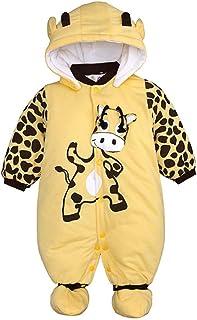 TZOU Children Kids Cartoon Cow Beetle Pattern Single-Breasted Hooded Long Sleeve Romper Jumpsuit Yellow Cattle 100cm