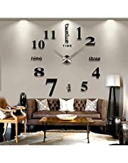 YOMYM DIY Wall Clock, 3D Mirror Stickers Large Wall Clock Frameless Modern Design Large Watch Silent Home/Office/School Number Clock Decorations Gift (Alarm clock)