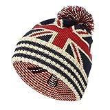 WITHMOONS Knit US Canada Flag Union Jack Pom Beanie Hat JZP0027 (White)