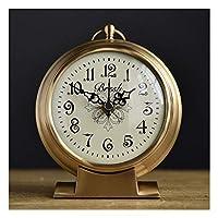 ブラケット時計クリエイティブフル銅時計ヨーロッパレトロシッティングクロックリビングルーム時計寝室テーブル時計モダンミニマリストサイレントクロックホームアウトドア