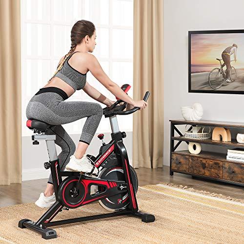 SONGMICS Cyclette da Interno, Cyclette per Fitness ed Esercizio a Casa, con Manubrio, Sella e Resistenza Regolabili, Sensore di Pulsazioni, Pedali con Puntapiedi, Nero e Rosso SEB617R01