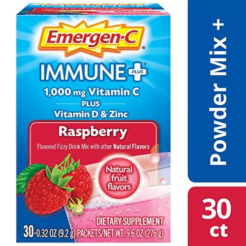 Emergen C Immune Plus Raspberry Fizzy Drink Mix, 0.3 Ounce - 30 per case.