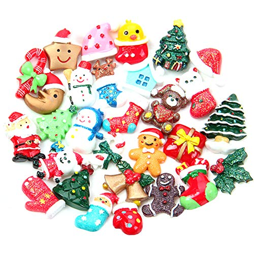 Gukasxi 50 Pcs Mini Resin Christmas Ornaments Christmas Resin Craft Embellishments Xmas Slices Resin Slime Charms Assorted Button Santa Snowman Tree Bell Deer for DIY Crafts Jewelry Hair Clip Making