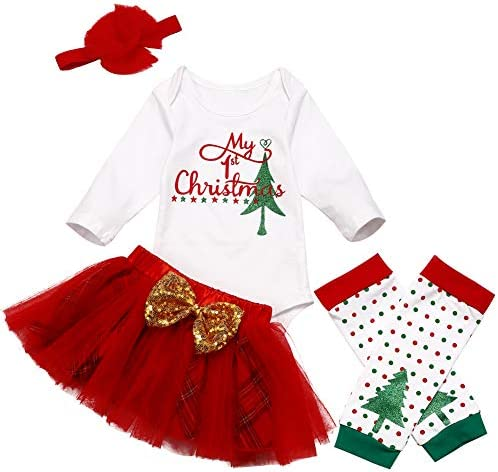 Christmas Newborn Baby Girl Clothes My 1st Christmas Romper Tutu Shirt Headband Leg Warmers product image