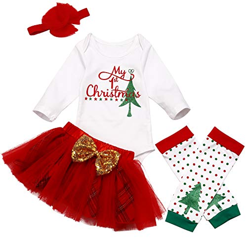 Christmas Newborn Baby Girl Clothes My 1st Christmas Romper + Tutu Shirt +Headband +Leg Warmers 4Pcs Outfit Set Red