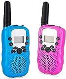 Lomoo Walkie Talkie Recargable, 8 Canales, Radio de 2 vías, Rango de 3 KM para Actividades, Canal Linterna Incorporado (Azul y Rosa)