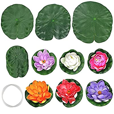 Skystuff Set of 16 Artificial Lotus Flower Floating Foam Water Lily Pond Decor with Realistic Lily Pads and Tensile Fishing Line for Pond Pool Aquarium Water Decoration