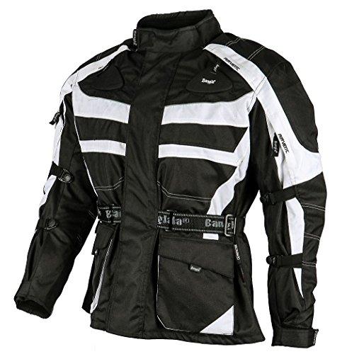 Ledershop-online 1152 Bangla Motorradjacke Textil Tourenjacke Cordura D 600 schwarz-weiss XXXL