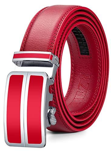 ITIEZY Ledergürtel Herren Gürtel Automatik Schnalle Männer Ratsche Gürtel, Rot 1, Länge: Bis zu 49,21 inches(125cm)