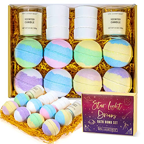 Bath Bombs Gift Set - Spa Luxetique Shower Bomb Set for Women with Essential Oils, Home Spa Handmade Fizzies Bubble Bombs, Relaxation Gifts for Women Moms
