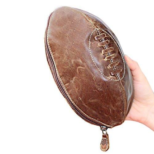 Heren Rugby Ball Shape Vintage Look Buffalo Echt Leer Luxe Kleine Waszak Toiletruimte Scheertas Reizen Toiletten Cognac Kleur met Multi vakken Zakken