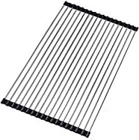 Roll Up Dish Drying Rack - Koulang Over the Sink Dish Drying Rack Stainless Steel Dish Rack Kitchen Rolling Drainer...