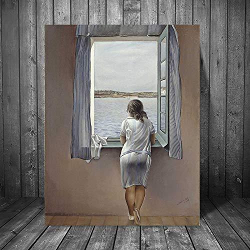 YWOHP Mujer Frente a la Ventana Lienzo de Arte Cartel Pintura al óleo Pintura de Pared impresión Moderna decoración del Dormitorio del hogar Obra de Arte HD sin Marco -40 * 60 cm
