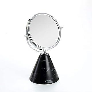 Ceramic Makeup Mirror HD Makeup Mirror Bedroom Dressing Mirror Double Mirror 3X + HD Mirror Size 21 * 21 * 35cm (Color : Black)