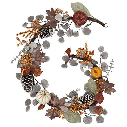 Valery Madelyn 6 Feet Fall Garland for Mantle, Hanging Vine Garlands with Pumpkins Maple Leaves Pine Cone Berries, Thanksgiving Decorations for Outdoor Door Autumn Home Wedding Party Fireplace