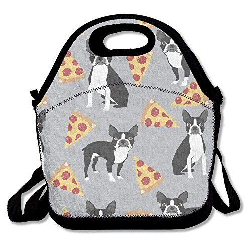Girls Boys Food Lunch Tote Grey Boston Terrier Pizza Multifunctional Carry Picnic School Work Portable Reusable Handbag Bags Boxes Lunchbox Outdoor Totes