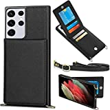 WESADN Compatible with Galaxy S21 Ultra 6.8-inch 5G Leather Wallet Case Girls Women Card Holder Slot Kickstand Case with Crossbody Strap Lanyard Slim Protective Magnetic Closure Purse Case,Black