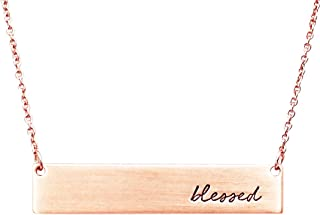 Women's Inspirational Bar Pendant Necklace Blessed