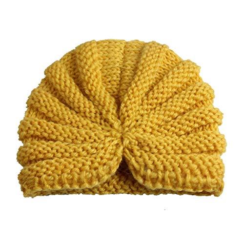 Sombrero de bebé de Invierno de Punto para niñas Color Caramelo Enfant Baby Beanie Turbante Sombreros Gorra de bebé recién Nacido para niños Accesorios-Yellow