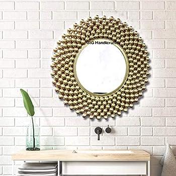 GIG Handicrafts Metal Wall Mirror (56 x 56 x 4 cm, Gold)