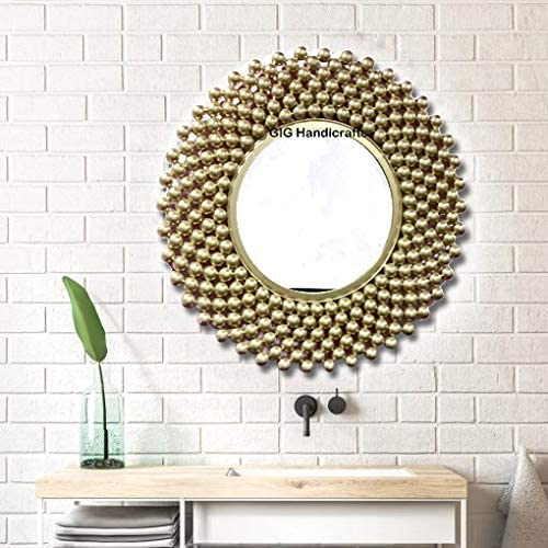 GIG Handicrafts Metal Wall Mirror (56 x 56 x 4 cm, Gold)