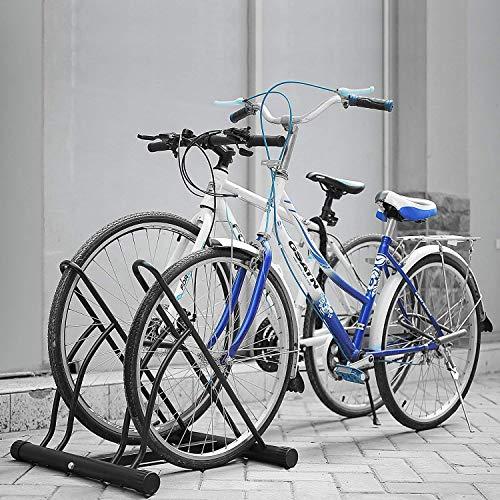 Femor Aparca Bicicleta Soporte para Bicicleta Suelo Aparcamiento de Bicicletas Parking de 2 Bici Color Negro