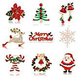 9PCS Christmas Brooch Pins for Women Xmas Tree Deer Wreath Bell Snowflake Brooches Set Festive Holiday Ornaments Family Gift Costume Jewelry Set