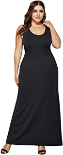Long Tank Dresses for Women Plus Size, Fankle Stretchy Comfy Casual Sleeveless Deep V Neck Summer Beach Maxi Dress