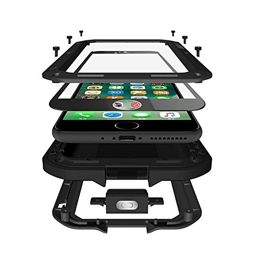 Amever iPhone 8 Plus Case, Aluminum Alloy Protective Metal Extreme Water Resistant Shockproof Military Bumper Heavy Duty Cover Shell Case [Black] (for iPhone Plus 5.5 Inch) - Black