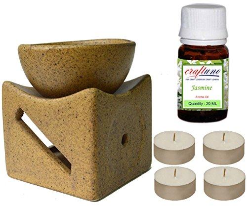 Varmohey Royal Handicrafts - Difusor de aceite de aroma, hecho a mano, de cerámica, con un gran cuenco y acabado en marrón mate, aceite de aroma de jazmín de 20 ml y 4 velas de té