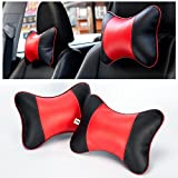 FMS 2 PCS Gnuine Leather Car Seat Neck Pillow, Breathable Car Auto Neck Rest Cushion Headrest Pillow (Black and Red)