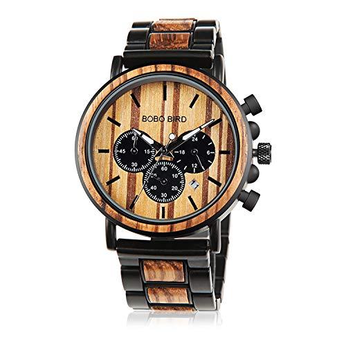Bobo Bird In legno orologi da uomo classico lusso elegante legno e acciaio inossidabile combinato cronografo militare quarzo sport casual orologio da polso, nero