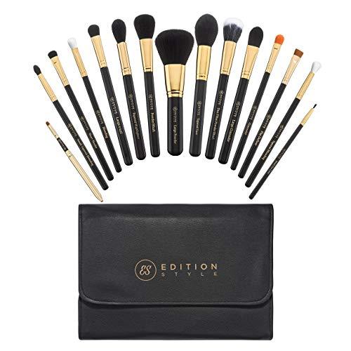 Lot de 15 pinceaux de maquillage synthétiques de qualité supérieure - Pour fond de teint, poudre, contour, fard à paupières, anti-cernes, eyeliner, lèvres, trousse de maquillage