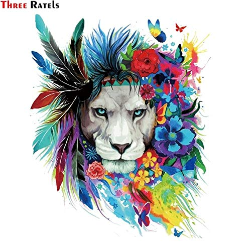 FAFPAY Car sticker FC161 Cool PVC Colorful Lion Feather Sticker Decal for Luggage Motorcycle Portable Refrigerator Washing Machine Height 40cm FC161