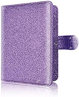 Glitter Passport Holder, Travel Wallet RFID Blocking Credit Card Case Multi-functional Leather Passport Sleeve with Magnet Closure (Purple)