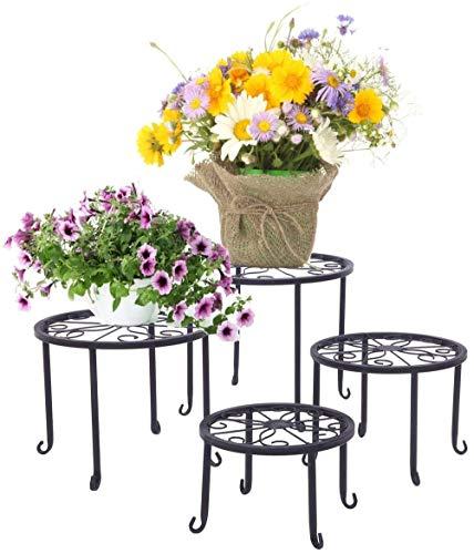 Portavasi, 4 Pezzi Porta Piante Supporto per Vaso da Fiori in Ferro Robusto, Portavasi per Giardino Interno e Esterno, Accessori Giardinaggio