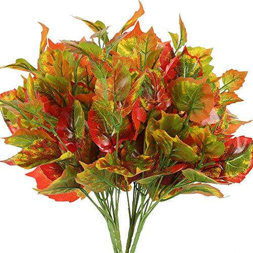 NAHUAA 4pcs Künstlicher Schefflera Arboricola Pflanzen Deko Blätter Plastik Zimmerpflanze für Balkon Garten Hochzeit Zuhause Außenbereich Kunstpflanzen Grün Rot