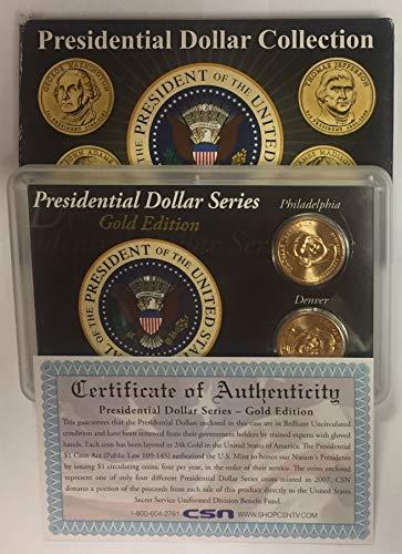 2007 P & D Gold Edition Thomas Jefferson Presidential Dollar Collection w/Box & COA BU